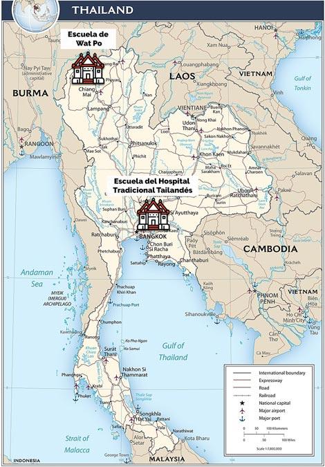 Existen dos escuelas en Tailandia que divulgan la enseñanza del masaje tradicional tailandés.
